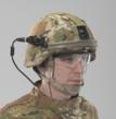 A soldier wears the Batlskin Cobra polyethylene helmet with the Revision multipurpose Front Mount and Ergonomic Retention System with camera mounted on front rails.