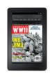 A Kindle Fire device displays the April 2012 cover of AMERICA IN WWII magazine.