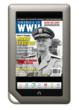 Fleet Admiral Chester Nimitz looks out from the June 2012 cover of AMERICA IN WWII magazine on a Nook Color.