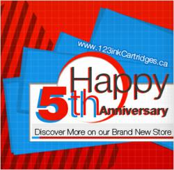 5th anniversary of 123inkcartridges.ca