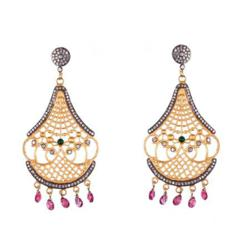 gold lattice earring BG Jewels jewelry show