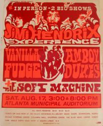 Vintage 1968 Jimi Hendrix Atlanta Municipal Auditorium Concert  Posters