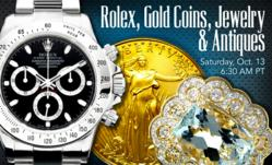 Rolex, Gold Coins, Sapphires & Antiques Auction