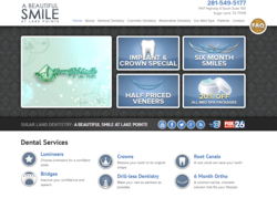 The new website for A Beautiful Smile at Lake Pointe, a practice of Houston cosmetic dentists