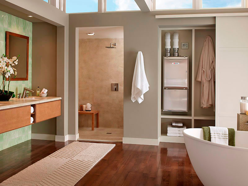 We love hot steady showers we take less showering time as we age and men are faster for Tankless water heater for bathroom