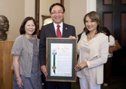 Assemblywoman Mary Hayashi with Dr. Leroy Morishita and his wife, Barbara Hedani-Morishita