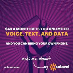 Solavei 4G Unlimited Atlanta, GA Talk Text Data Phone Plan for $49 Month