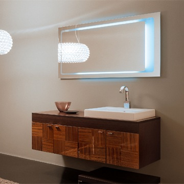 Concept One NC6 Backlit Mirror And Vanity From Iotti. Backlit Mirrors for a Modern Bathroom are Introduced by HomeThangs