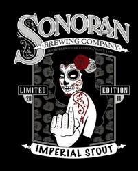 Sonoran Brewing Company Inebriator Stout Label Designed by Tom Burns