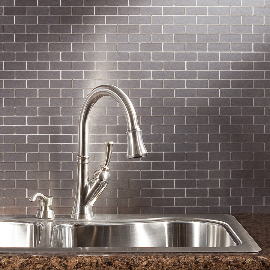 Peel And Stick Backsplash Tiles: Aspect Matted Peel & Stick Metal Backsplash Tiles Named To