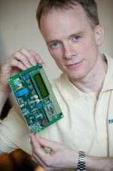 Dunstan Power of ByteSnap Design holding ZigBee module