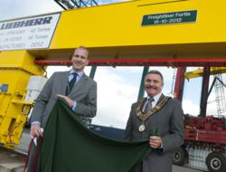 Adam Cunliffe, Managing Director, Freightliner Ltd and Mayor of Southampton, Councillor Derek Burke officially launched the new cranes