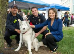 Assemblywoman Mary Hayashi with Hayward Firefighters at Pet Health and Safety Fair