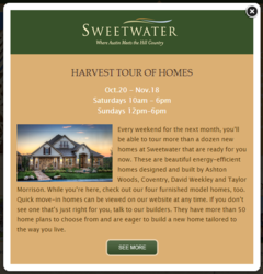 The flyer invitation for Sweetwater's Harvest Tour of Homes, where more than a dozen Austin new homes will be on display.