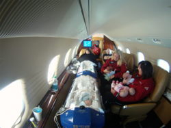 Inside of Angel MedFlight Learjet During Medical Transport of Quintuplets and Parents