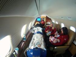 Inside of Angel MedFlight Learjet During Medical Transport of Quintuplets and Parents