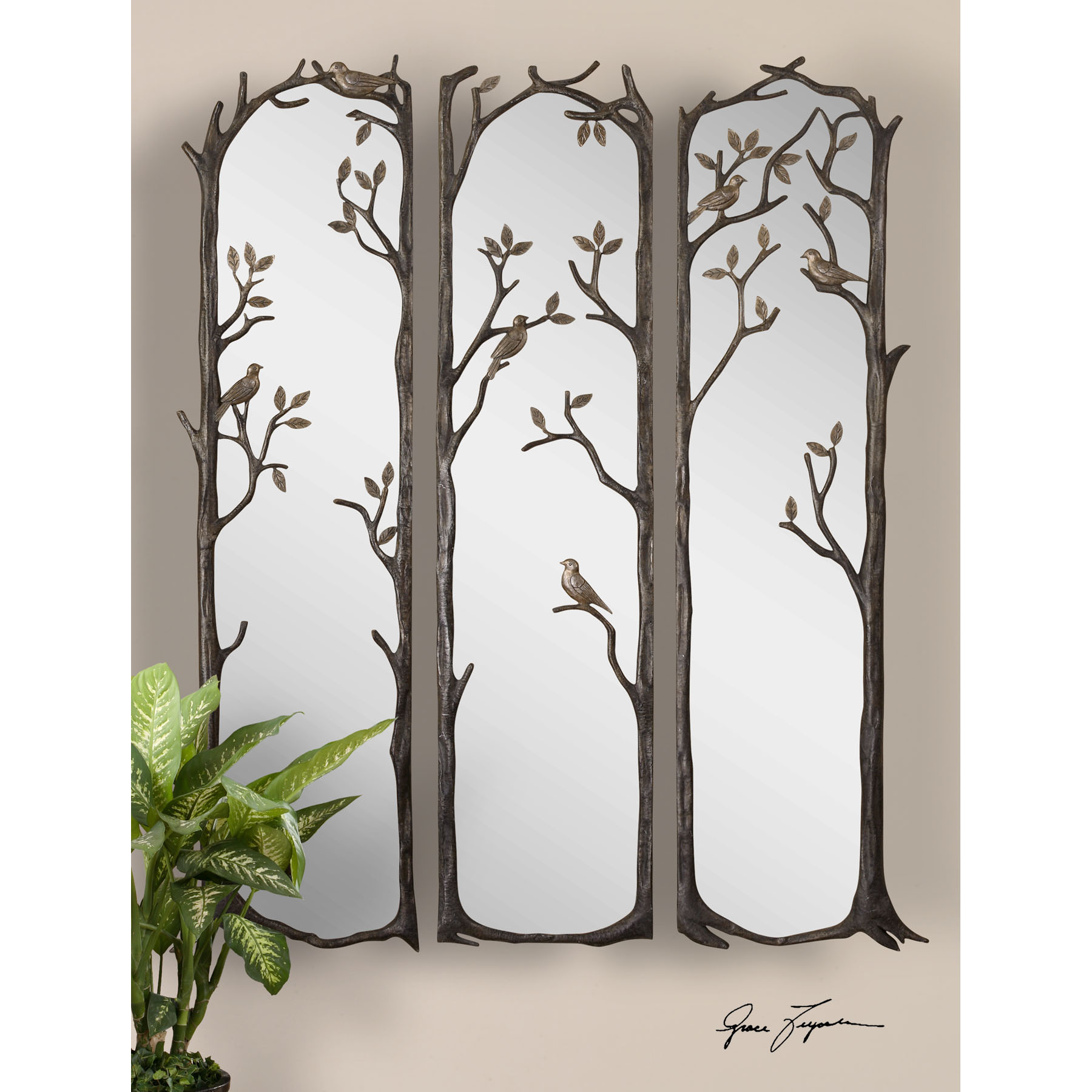 uttermost perching birds s3 mirrors - Uttermost Mirrors