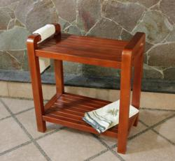 Teak shower benches designed for increased mobility