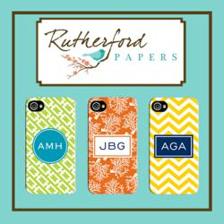Rutherford Papers Monogrammed Gifts featuring Custom Phone Cases