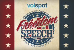 voispot, the new voice-activated social media platform, is featured at the Social Media Lounge at Lynn University during the presidential debate.