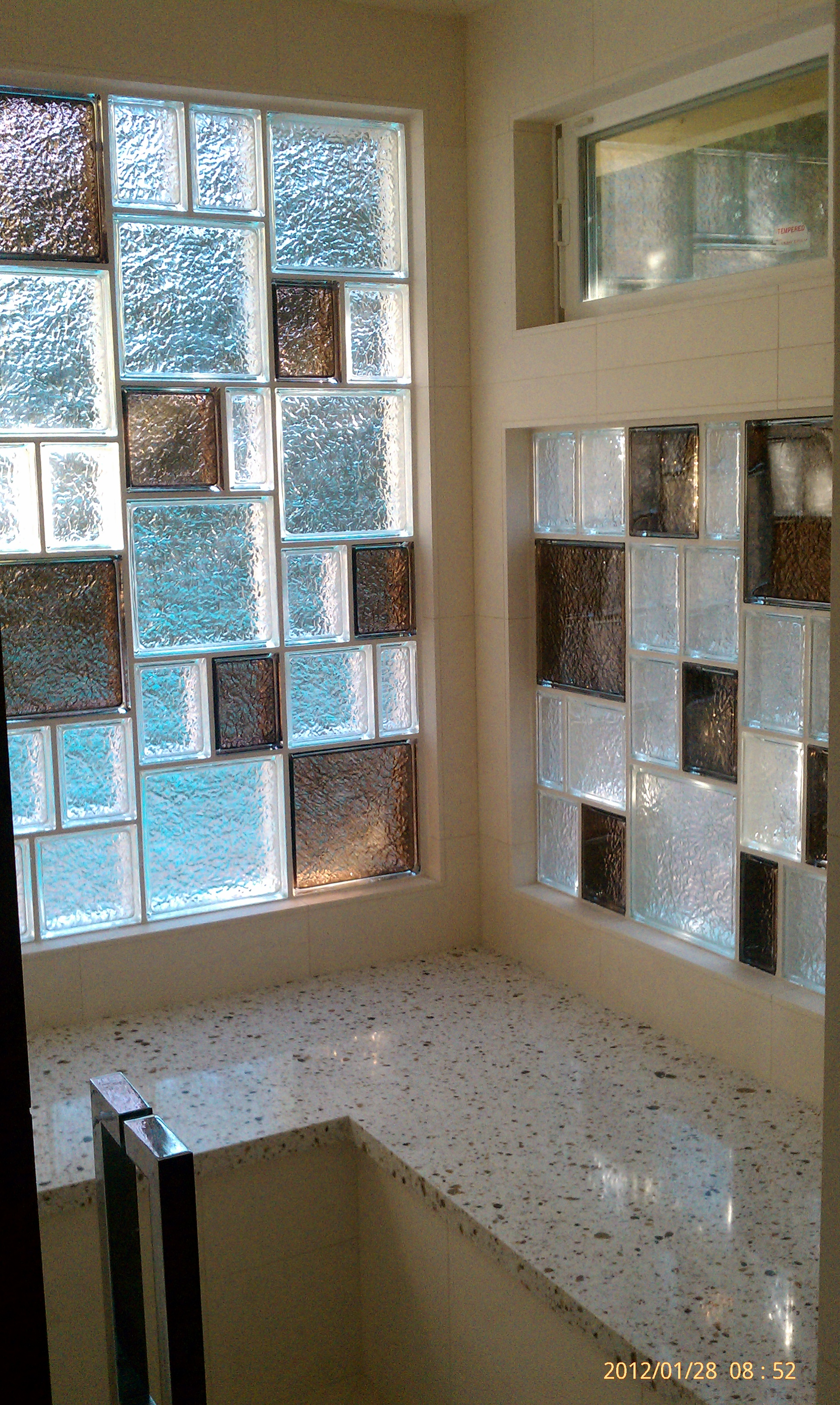 Colored Glass Block Block Bathroom Window ...