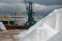 Salt ship unloading