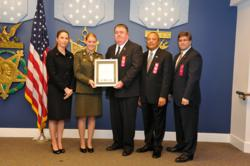 L to R: Dr. Laura A. Junor; Young Marines Sgt. Major McCall Behringer, National Young Marine of the Year; Mike Wilson, Red Ribbon Week coordinator; Major General Arthur Dean (Ret); and Joseph J. Angello, Jr., director of Operational Readiness and Safety,