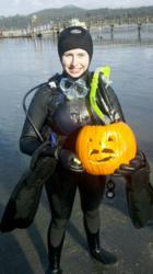 underwater pumpkin carving, M Essentials, scuba diving,