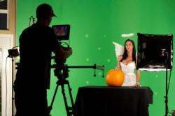 Ashley teaches a new way of how to carve a pumpkin.