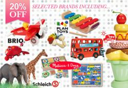 Toy Sale - 20% Off Melissa and Doug, Brio, Plan Toys, Le Toy Van and Schleic.