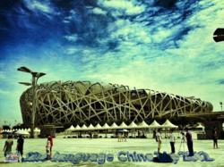 """Alexander, a Sino Chinese language camp participant, shared his Bird's Nest photo took in Beijing during camp, and won the most """"like""""s."""