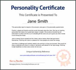 Personality Certificate Example