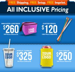 4 of the 8 exciting promo items with free shipping and printing from QLP