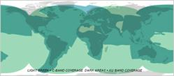 KVH VSAT Coverage Map - Light Green displays C-Band coverage - Dark Green - Ku Band