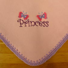 Princess Butterfly Embroidered Fleece Baby Blanket