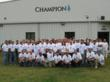 Employees at the Champion Home Builders Salisbury, N.C. facility stand with pride outside of the plant where the Jones family home was manufactured.