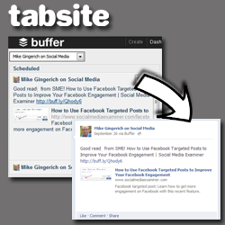 Easily queue posts linking back to your TabSite custom tab via Buffer integration in TabSite Engagement Apps