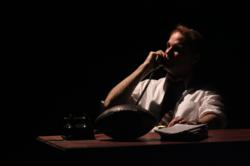 "Russ Widdall As Senator Robert F. Kennedy in New City Stage's ""RFK.""  (shadowed photo)"
