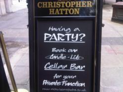london pub private party hire chalk board