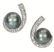 Grey Pearl Diamond Earrings
