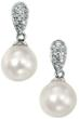 Drop Diamond and Pearl Earrings