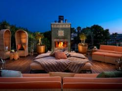 Rooftop fireplace at Petit Ermitage Hotel in Los Angeles