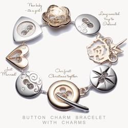 Button charm bracelet, memory bracelet, button & Co., celtic promise