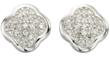 Petal Shaped Pave Set Diamond Earrings