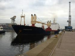 The first ship of the season arrives at king George V docks, Glasgow
