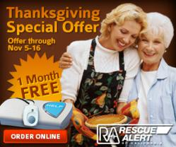 Rescue Alert of California's™ Thanksgiving Special offers one month free on quarterly subscription