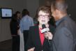 What's The 411 Host Andrew Rosario Interviewing Tennis Champion Billie Jean King - Photo Caption: E. Lee White/What's The 411