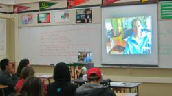 Students at Soquel High School video chat with engineer Nick Anderson of Santa Cruz Bicycles.
