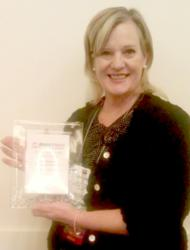 DeVere with her Woman of the Year Award