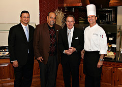 From left to right: Sascha Hemmann, GM Founders Inn; Pastor Ken Gerry, New Life Christian Center; Horst Schulze, Capella Hotel Group; Executive Chef Scott Simpson
